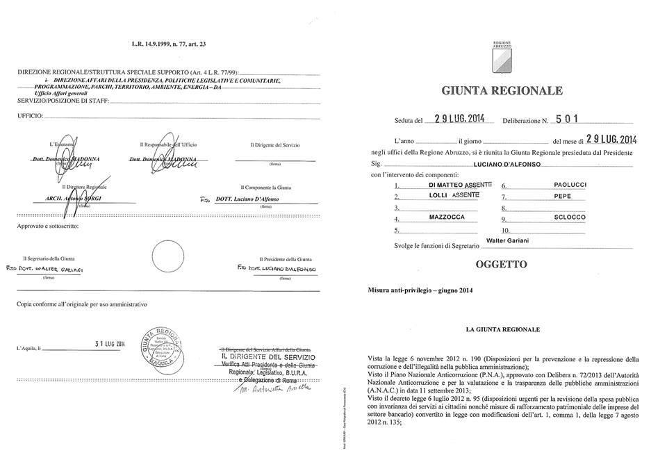 DGR 501 del 29.07.2014 Misura anti-privilegio -giugno 2014.
